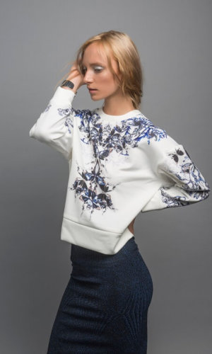 Mulberry Silk Long Sleeve Jumper With Blue Digital Print Design By Guinevere Launcelot