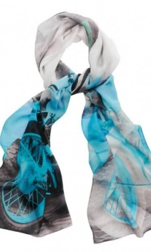 Blue Motorbike Silk Scarf by Julia McLearon