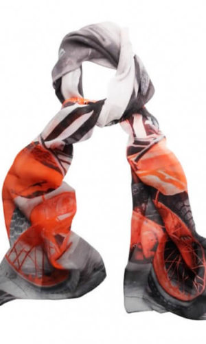 Red Motorbike Silk Scarf by Julia McLearon