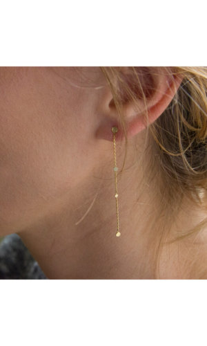Gold Chain And Dot Long Earrings By Irena Chmura