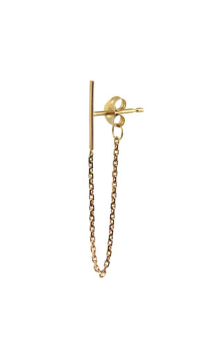 Gold Earring With Connecting Line And Chain Detail