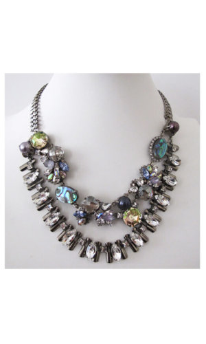 Shellmoon Necklace With Multi Coloured Crystals By Heiter Cotuture