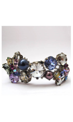 Crystal Stone Cuff With Clustered With Multi Coloured Crystals By Heiter Cotuture