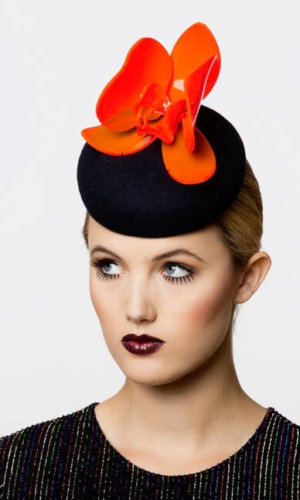 Wool Felt Fluorescent Tulip Hat by Karen Morris