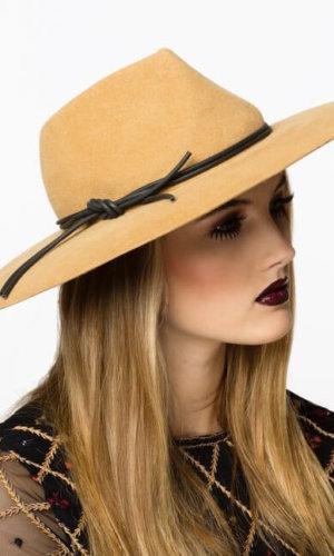 Camel Warm Taupe Fedora Hat by Karen Morris