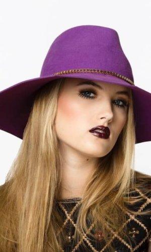 Purple Octagon Hat by Karen Morris