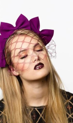 Purple Veiling Headband by Karen Morris