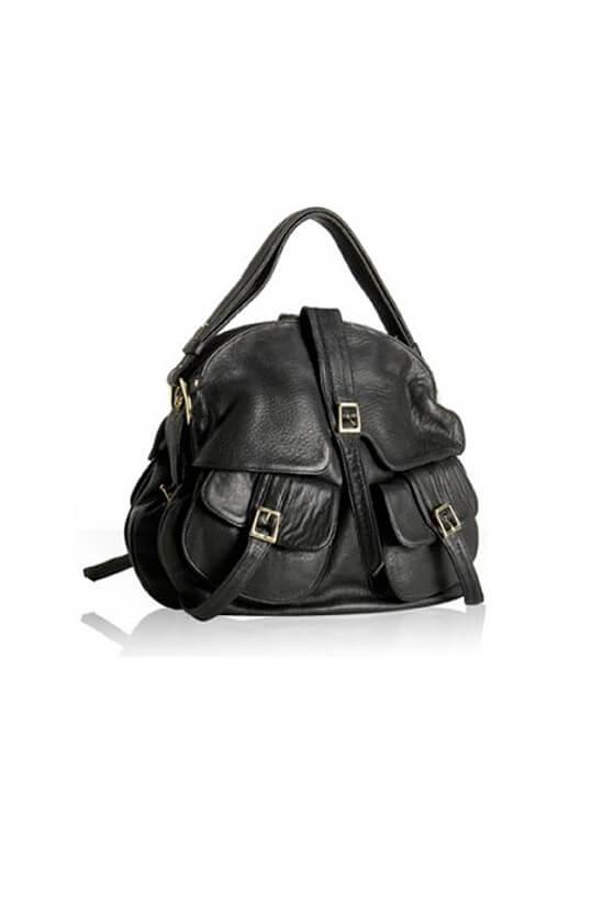 Black Leather Helmet Satchel Bag By Lebulga