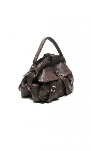 Brown Leather Helmet Satchel Bag By Lebulga