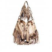 Beige Infinity Tassel Bag By Lebulga