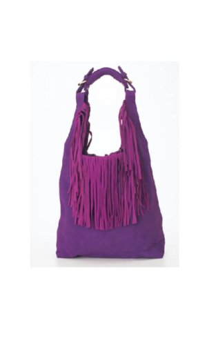 Purple Hobo Bucket Bag With Tassels