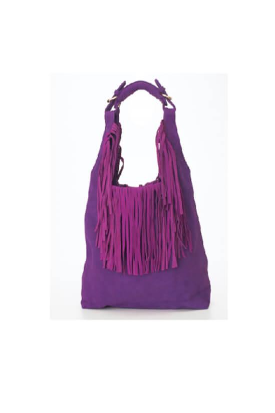 Purple Hobo Bucket Bag With Tassels