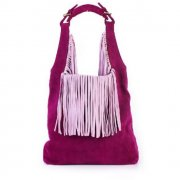 Pink Hobo Bucket Bag With Tassels