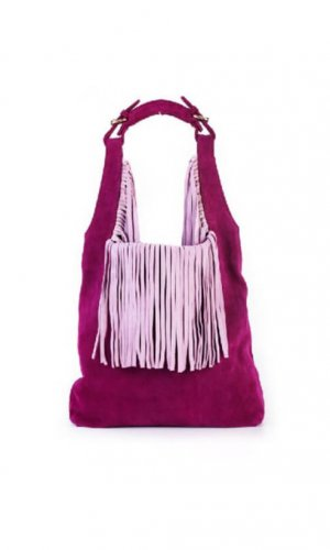 Pink Hobo Bucket Bag With Tassels