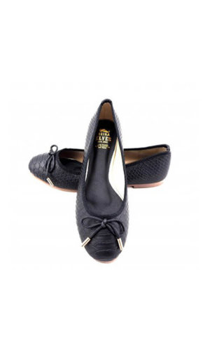 Black Snakeskin Ballerina Pump By Seria