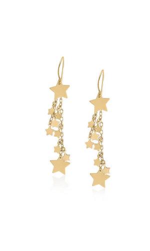 18K Gold Star Long Earrings By Lily Flo