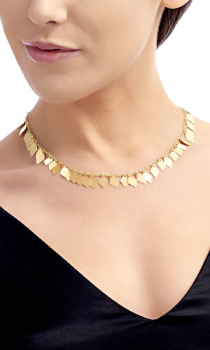 18k Gold Crux Necklace With Diamond Pendants By Lily Flo