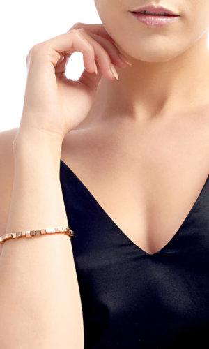 Rose Gold Cube Bracelet By Lily Flo