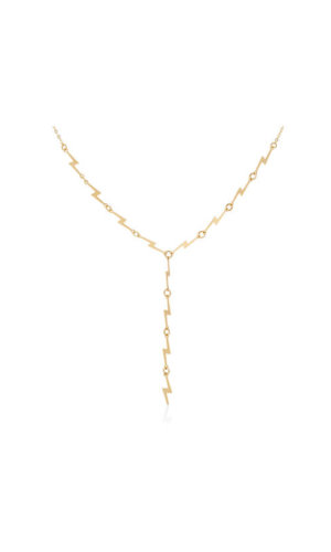 Gold ZigZag Pendant Necklace By Lily Flo