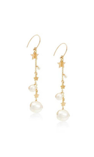 Astra Pearl And Gold Star Longdrop Earrings By Lily Flo