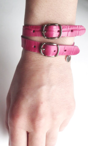 Fuschia Leather Bracelet By Mikashka