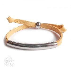 Topaz Yellow Leather Bracelet