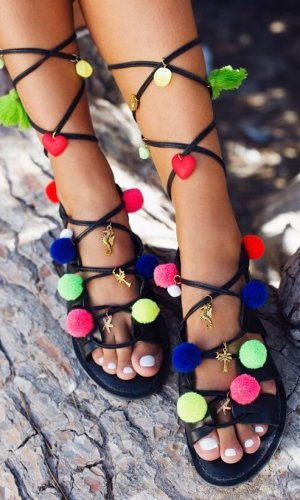 Leather PomPom Sandals By What Frankie Did Next