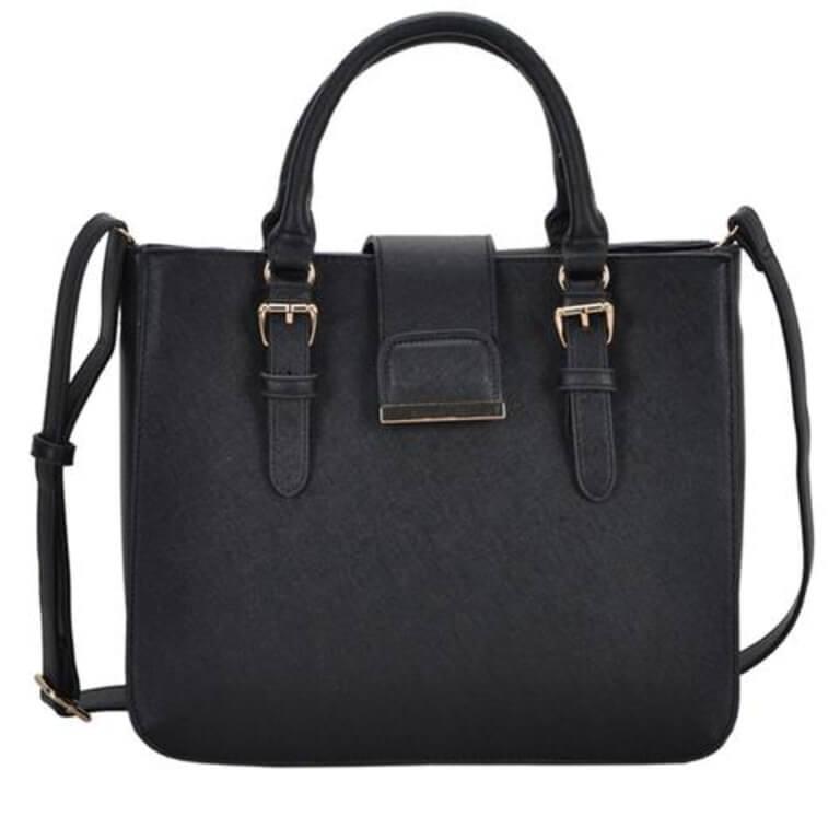 Black Vegan Leather Shoulder Handbag