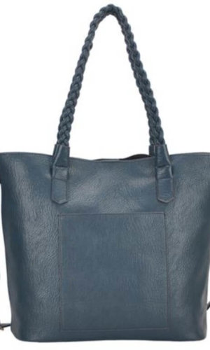 Teal Blue Vegan Leather Tote Bag
