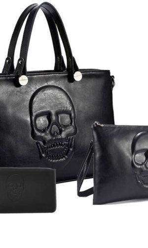 Black Vegan Leather Bag Set