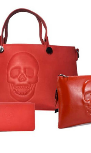 Red Vegan Leather Bag Set