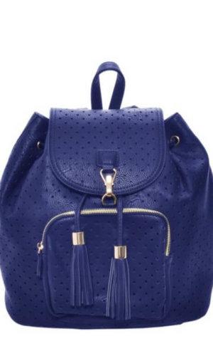 Blue Vegan Leather Backpack