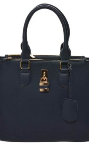 blue vegan leather handbag