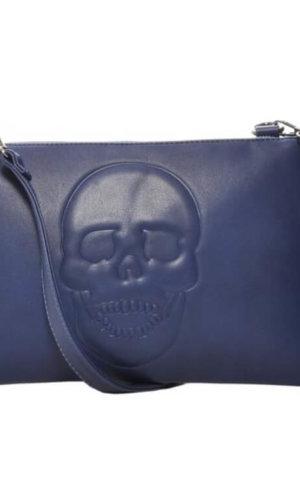 Blue Vegan Leather Clutch