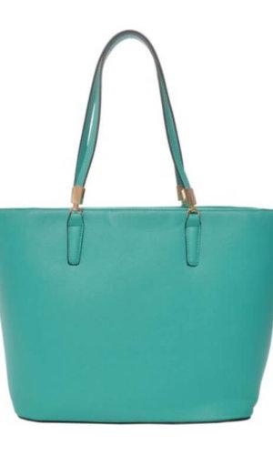 Green Vegan Leather Tote Bag
