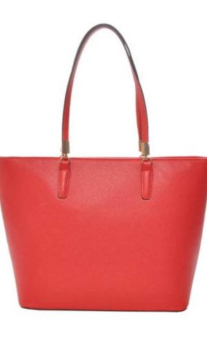 Red Vegan Leather Tote Bag