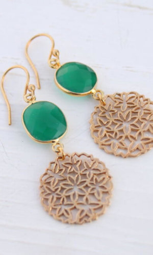 Floral Earrings with Green Onyx
