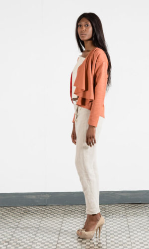 Asymmetrical Orange Cardigan
