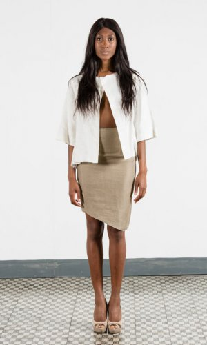 Beige Asymmetric Skirt