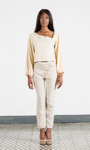 Cropped Silk Blouse