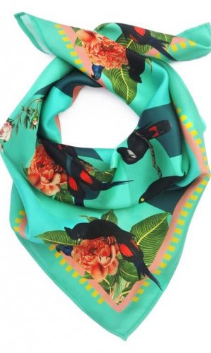 Tropical Rainforest Teal Silk Scarf