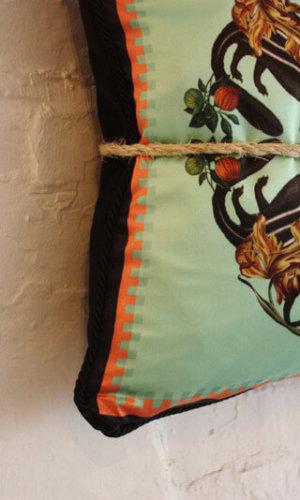 Skunk Detail Silk and Velvet Cushion