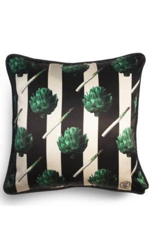 Artichokes and Asparagus Silk and Velvet Cushion