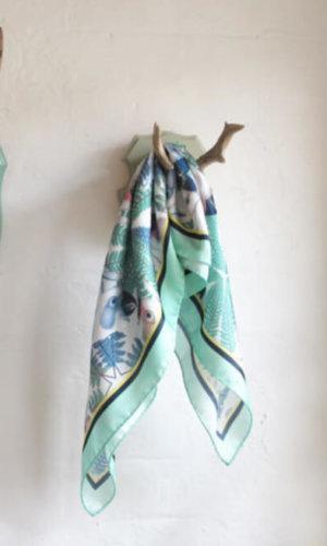 Aquamarine Parrots Silk Scarf