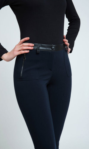 Mid Rise Pleather Detail Jeggings