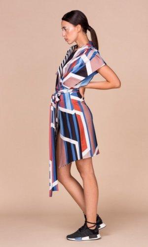 Geometric Print Kimono Vest