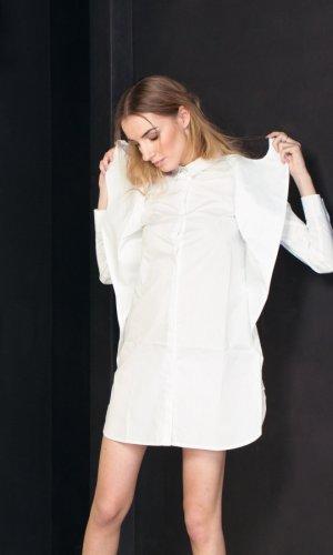 White Poplin Wrap Shirt Dress
