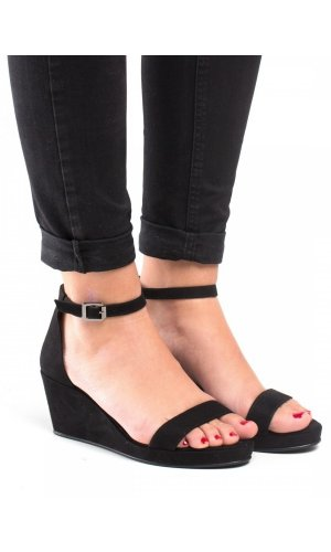 Linda Black Wedge Sandals