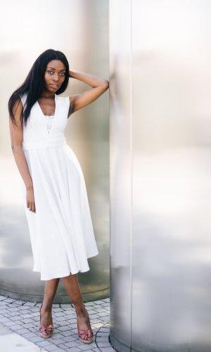 Lilah White Midi Dress