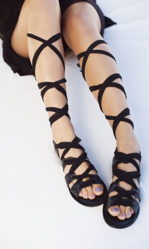 Silk Lace Up Sandals